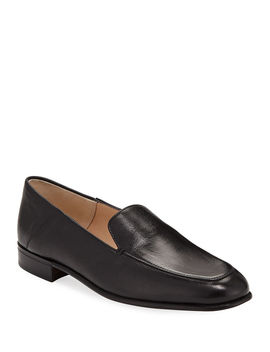 Flat Leather Step Down Loafers by Gravati