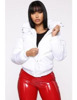 Trouble Maker Puffer Jacket   White by Fashion Nova