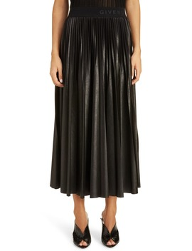 Logo Waist Pleated Midi Skirt by Givenchy