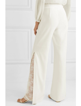 Lace Trimmed Crepe Wide Leg Pants by Jonathan Simkhai
