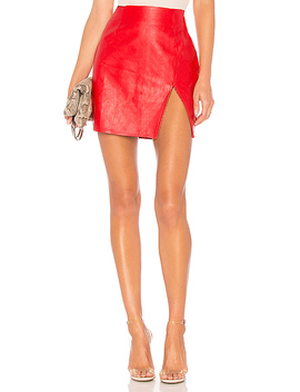 Trinity Faux Leather Skirt In Red by Superdown