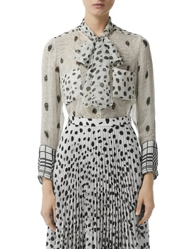 Dalmatian & Check Print Mulberry Silk Blouse by Burberry