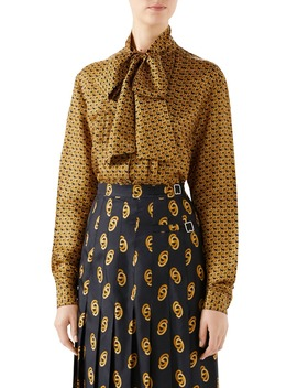 Gg Silk Twill Bow Blouse by Gucci