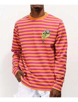 Teenage Hammer Skull Orange & Pink Stripe Long Sleeve T Shirt by Teenage