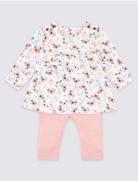Two Piece Cotton Floral Top & Bottom Outfit by Marks & Spencer
