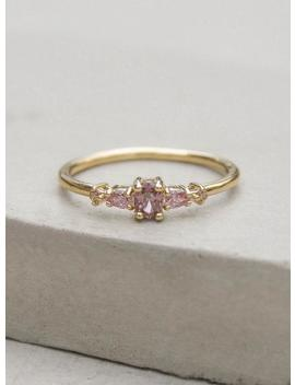 Vintage Inspired Ring Gold + Pink Petite, Dainty Ultra Thin Stacking Ring Mit Cz Stones Gold | Versprechen Ring | Hochzeitsring R1056 Gpnk by Etsy