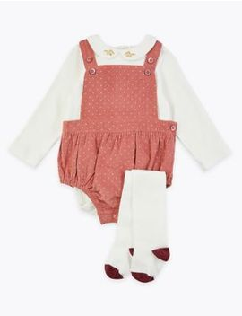 3 Piece Cord Romper & Bodysuit Outfit by Marks & Spencer