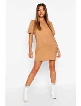 Cotton Roll Sleeve T Shirt Dress by Boohoo