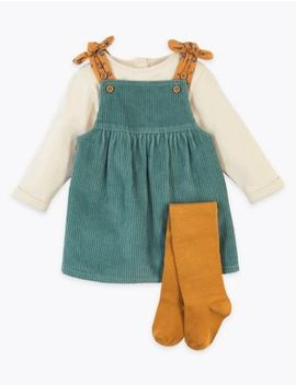 3 Piece Cord Pinafore Dress by Marks & Spencer