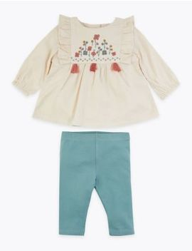 2 Piece Cotton Embroidered Frilled Outfit by Marks & Spencer