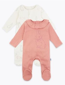 2 Pack Cotton Peter Rabbit™ Sleepsuits by Marks & Spencer