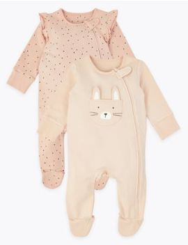 2 Pack Cotton Rich Bunny Sleepsuits by Marks & Spencer