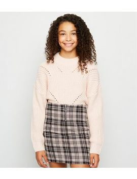 Girls Pink Check Ring Zip Tube Skirt by New Look