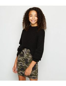 Girls Green Camo Ring Pull Tube Mini Skirt by New Look