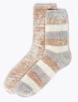 2 Pair Pack Velvet Striped Socks by Marks & Spencer
