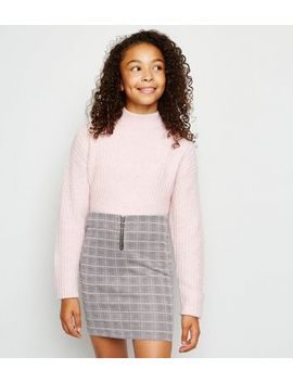 Girls Black Check Print Tube Skirt by New Look