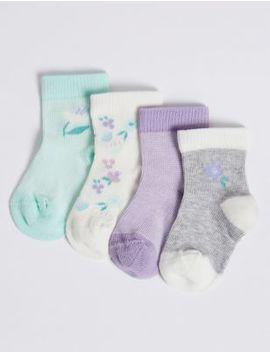 4 Pack Floral Print Baby Socks by Marks & Spencer