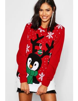 Penguin With Snowflake Christmas Jumper by Boohoo