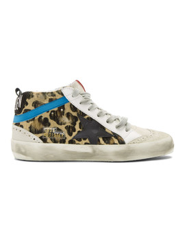 Black & Brown Leopard Pony Mid Star Sneakers by Golden Goose