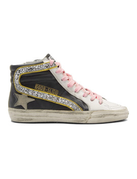 Black & White Glitter Flash Slide High Top Sneakers by Golden Goose
