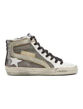 Gunmetal Shimmer Slide High Top Sneakers by Golden Goose