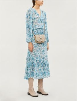 Floral Print Ruffled Trim Chiffon Maxi Dress by Topshop