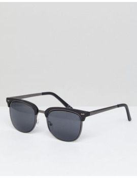 Asos Design Retro Sunglasses In Gunmetal &Amp; Matte Black by Asos Design