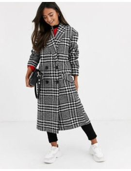 Asos Design Houndstooth Oversized Coat by Asos Design