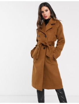 Warehouse Textured Coat With Double Breasted Buttons In Brown by Warehouse