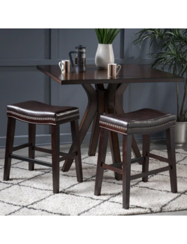 Kimi Studded 26 Inch Saddle Counter Stool (Set Of 2) By Christopher Knight Home   Brown + Dark Brown   Faux Leather/Rubberwood by Christopher Knight Home