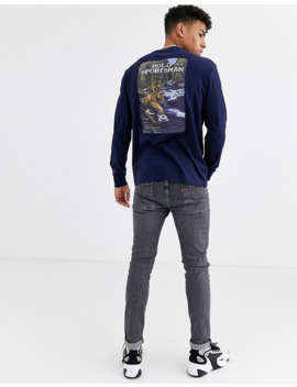 Polo Ralph Lauren Sportsman Back Print Long Sleeve Top In Navy by Polo Ralph Lauren