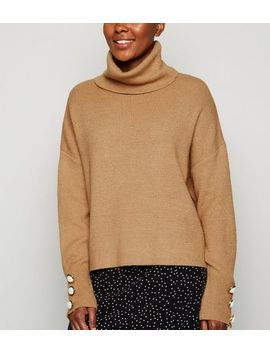 Cameo Rose Camel Faux Pearl Roll Neck Jumper by New Look