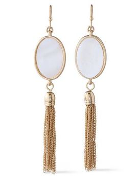 Gold Tone Faux Pearl Tasseled Earrings by Kenneth Jay Lane