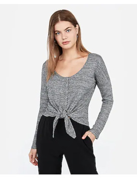 Heathered Waffle Knit Snap Tie Front Top by Express