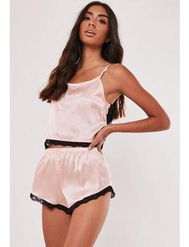 Nude Satin Contrast Lace Back Cami Pyjama Set by Missguided