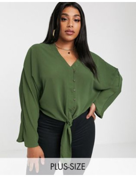 Boohoo Plus Shirt With Tie Detail In Khaki by Boohoo
