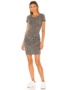Leopard Print Ruched Dress In Charcoal by Sundry