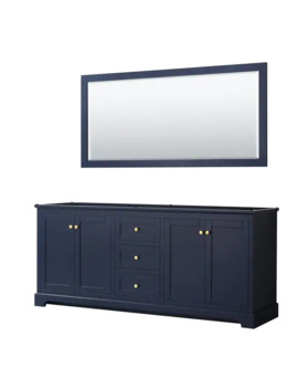 Avery 80 Inch Double Vanity, No Top, No Sinks, 70 Inch Mirror by Wyndham Collection