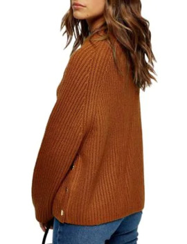 Petite Rib Knit Side Button Sweater by Topshop