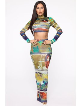 Read Me Maxi Skirt Set   Multi by Fashion Nova