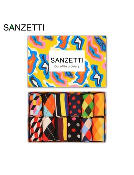 Sanzetti 12 Pairs/Lot Gift Box Fashion Men's Combed Cotton Crew Skateboard Socks Stripe Diamond Pattern Classic Colorful Socks by Ali Express.Com