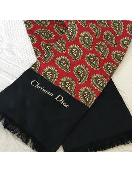 Vintage Mans Christian Dior Silk Scarf. Cream And Green Paisley Designs On Red Background With Black End Borders And Fringe. Elegant Scarf. by Etsy