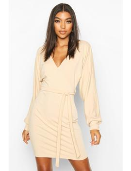 Tall Belted Batwing Sweat Dress by Boohoo