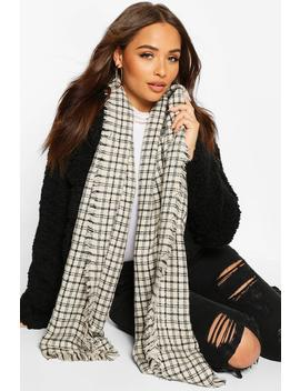 Oversized Knitted Check Scarf by Boohoo