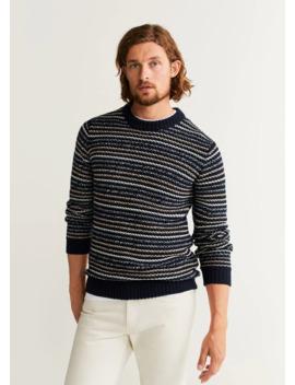 Striped Open Work Sweater by Mango