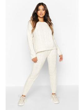 Cable Knitted Slash Neck Set by Boohoo