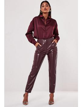 Burgundy Oversized Satin Shirt by Missguided