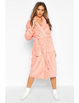 Fleece Pocket Dressing Gown by Boohoo