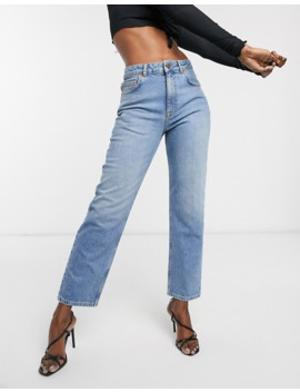 Asos Design High Rise Stretch 'slim' Straight Leg Jeans In Light Vintage Wash by Asos Design