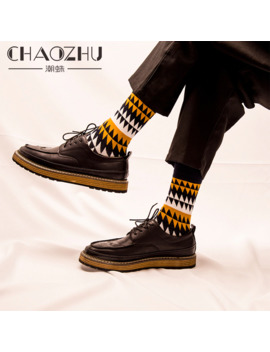 Chaozhu Fashion Men's Socks Autumn Winter Casual Cotton Crew Socks Men Happy Socks Dots/Stripes Daily Deodorant Socks/Calcetines by Ali Express.Com